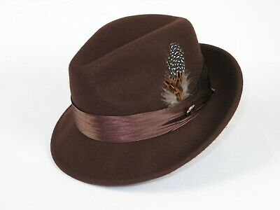 Mens Bruno Capelo Hat Australian Wool Crushable Fedora Giovani Cocoa Brown New