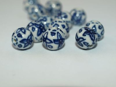 LOT of 4 Vintage hand Painted Blue White Porcelain Chinese Abstract Round 8mm
