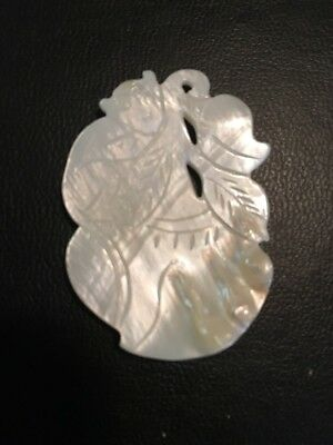Vintage Carved Chinese Mother of Pearl Blister Pearl Pendant w/ Monkey Gourd #1