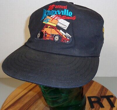 Vintage 1995 35Th Annual Knoxville Nationals Sprint Car Black Snapback Hat Vg Rt