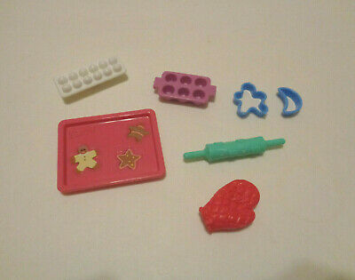 7 Barbie Miniature Dollhouse Size Baking Accessories Rolling Pin More EUC