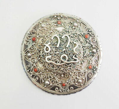 Antique North Africa Islamic silver coral large pin or pendant