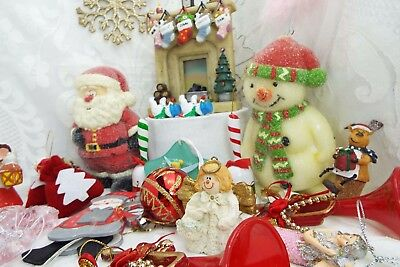 Retro Bundle of Christmas Decorations  candles / cake toppers - Mixed Lot