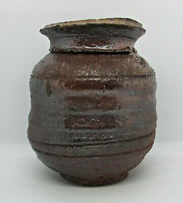 Jay Strommen Hand Thrown Vessel - Wide Bulbous Form -Raw Clay & Dark Brown Glaze