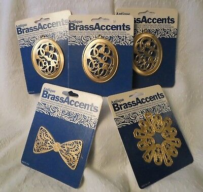 VINTAGE NEW BRASS ACCENT CRAFT LOT x 5 ORNATE ANTIQUE STYLE MULTI-USE OVAL BOW