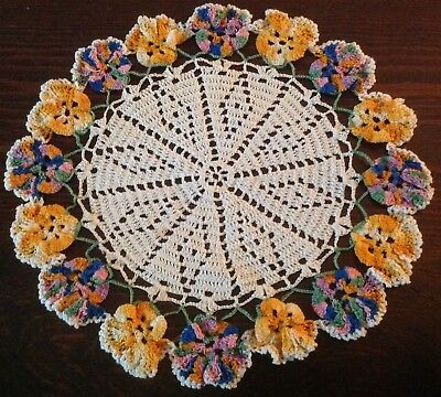 Beautiful Hand-Made Crocheted Pansy Doiliy Doily-You can make the Pansies Puffy