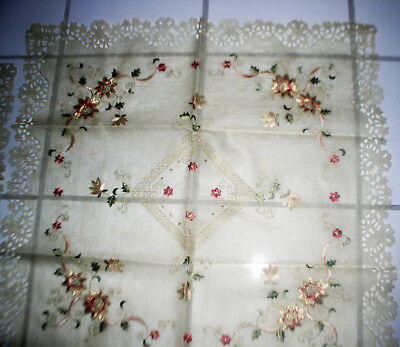 New 1 Table Cover 4 Doilies Tissue Box Cover Hand Embroidered Nicely Detailed Ex