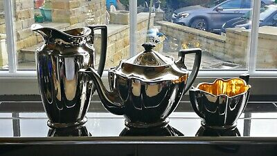 House Collectables Art deco AGR Pottery Silver plated Ware Tea set Teaset