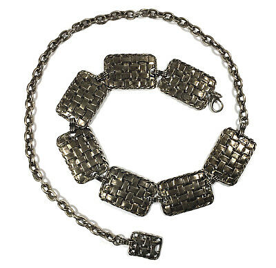 BLOOMINGDALES Gunmetal Burnished Silver Metal Bohemian Chain Belt