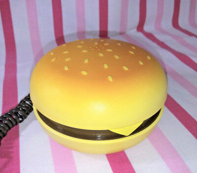 Kitschy Vintage Cheeseburger Phone •  Corded • Flip Open • Push Button Dial