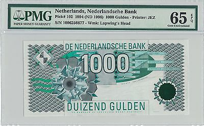 1994-1996 Netherlands 1000 Gulden Pick# 102 PMG 65 EPQ @¥@