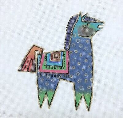 Laurel Burch hand painted needlepoint canvas petite Blue Horses 18 count modern