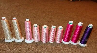 Mixed Lot 10 Cone Spools Of Madeira Embroidery Thread Shades Pink Purple Sandy