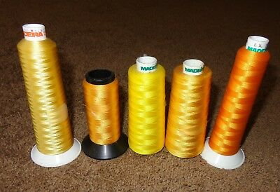 Mixed Lot 5 Cone Spools Madeira Germany & Hi-Tek Embroidery Thread Yellow Orange