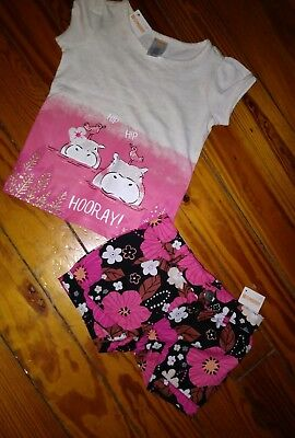 NWT Gymboree Toddler Girls Outfit Short Sleeve Shirt Bubble Short Size 2T Hippo