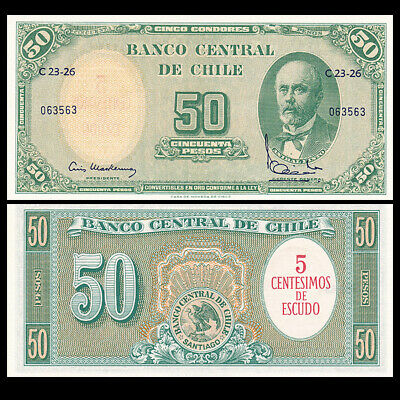 Chile 5 Cents on 50 Pesos, ND(1960-1961), P-126, UNC