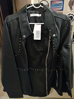 26dcb040d4 Just Fab Plus Size Black Studded Faux Leather & Suede Moto Jacket 3X NWT