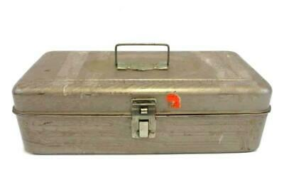 Vintage Brown METAL Fishing TACKLE BOX Tool Box - 12 In Ruler Embossed On Lid