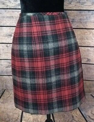3edafe73d0 Eddie Bauer Size 10 Red Black Plaid Wrap Around Skirt Fully Lined Womens