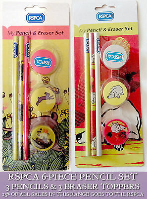 RSPCA PENCIL SETS 3 Pencils & 3 Eraser Toppers DOG Racing HARES 25% CHARITY Gift
