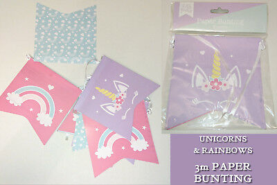 3m UNICORN & RAINBOW BUNTING Standard Shape Pennants PARTY FLAGS Pink Lilac Blue