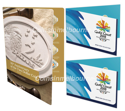 2018 30th Anniversary of the $2 Coin Set + 2x Commonwealth Games Set Australia