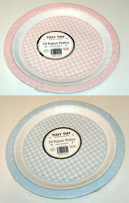 10 Paper Plates TEENY TINY Blue Gingham Check Stars PARTY TABLEWARE Baby Shower