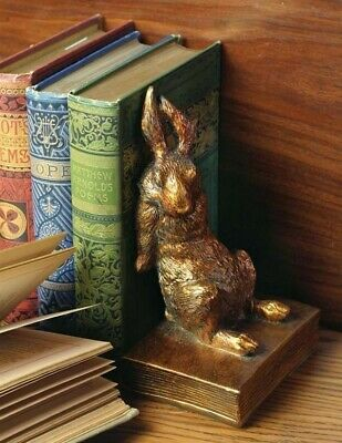 Victorian Trading Co 2 Gilded Golden Bunny Rabbit Bookends