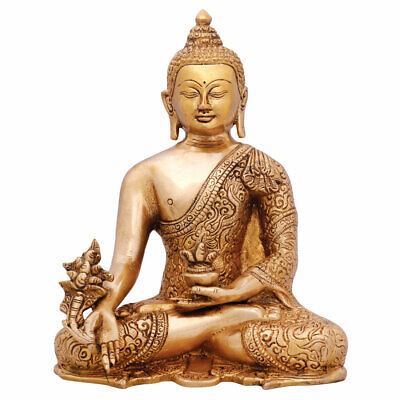 Hand Crafted Carved Medicine Buddha Figure Statue Décor Gift Idol Showpiece 10""