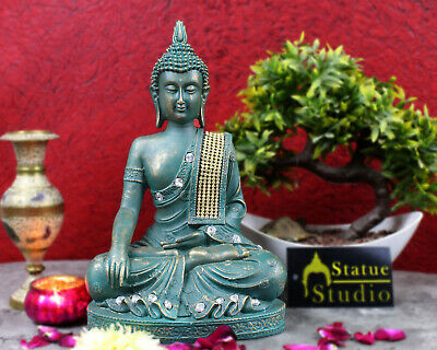 Polyresin Earth Touching Buddhist Green Buddha Décor Gift Statue Showpiece 11""