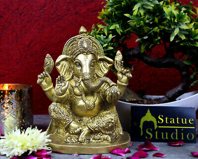 Brass Hand Carved Ganesha Statue Idol Figure Religious Hindu God Décor 7""