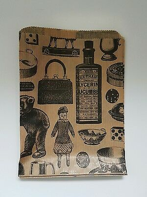 """Kraft Paper Gift Bag Victorian Vintage Printed small 5""""x7"""" 50 pieces craft,shop"""