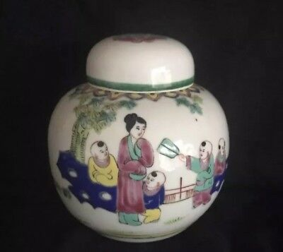 Superb C19th Chinese Cantonese Famille Rose Enamel Ginger Jar Vase GC