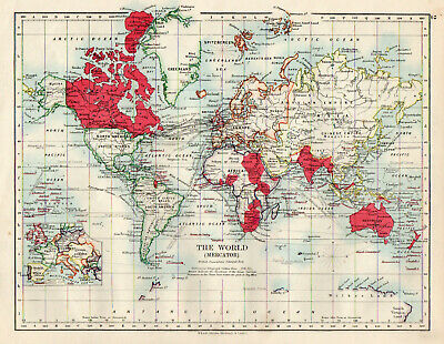 Map of The World All Nations Meracator W & AK Johnston 1902 Original Antique