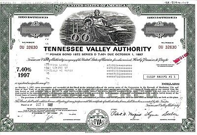 Tennessee Valley Authority, 1988,  7,40% Power Bond Ser. D due 1997 (75.000$)