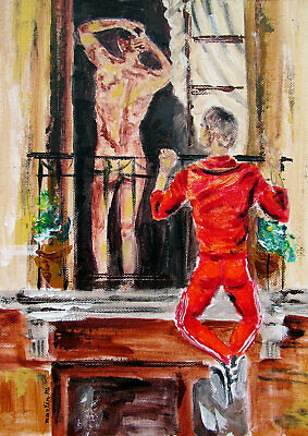 Two nude men boys male gay couple city balcony pry spy original art painting red