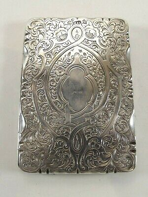 Antique Silver Card Case Hallmarked Birmingham 1861 Ref 1074/3