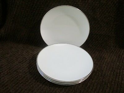 """4 NORITAKE Silver / Platinum and White Salad 8 1/4"""" Plate Classic 5932 COLONY ?"""