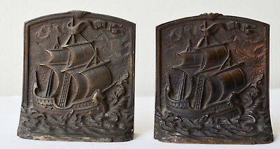 Bookends Doorstops Pair Antique Cast Iron/Bronz Nautical Sailing Ship High Seas