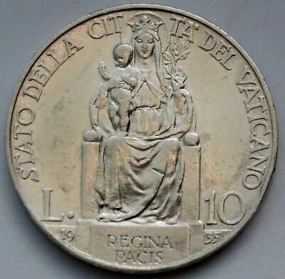 10 Lire 1935 Vatican City, Mary, Queen of Peace, Pius XI , Silver coin
