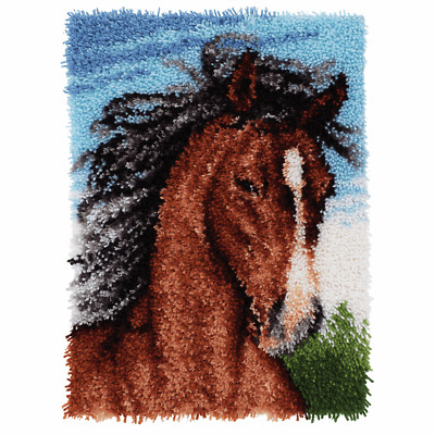 SALE Latch Hook Kit HORSE WILD STALLION RUG HOOKING Latching WonderArt SALE