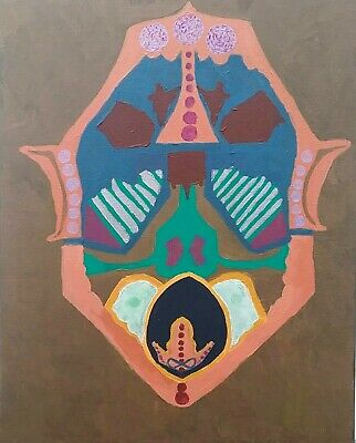 """Original Abstract 16""""x20"""" Acrylic Mask Painting, Bronze and Peach"""