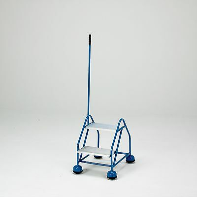Safety Steps - Rolling Ladder, Steadying Post Handrail - Aluminium/Rubber Steps