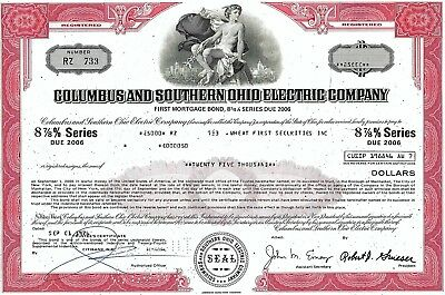 Columbus and Southern Ohio Electric Company, 1976, 8 7/8% Bond 1998 (25.000 $)