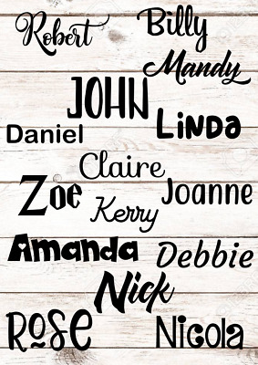 X10 Personalised 3cm Vinyl Name Sticker Decal for gifts crafts glass wedding