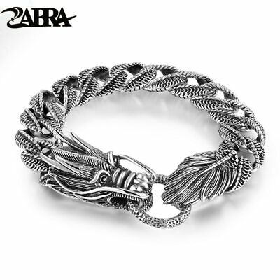 Mens Biker Sterling 925 Silver Dragon Curb Chain Bracelet Thai Vintage Style