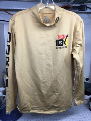 USMC Marine Corps Marathon 2016 Official Race Shirt Long Sleeve GOLD MCM SMALL