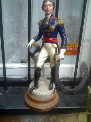 Antique spelter ?/metal figure on base wellington enamel painted 44 cm tall