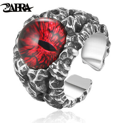 ZABRA 925 Sterling Silver Cool Ghosts Eyes 2 Colors Rose Red Yellow Stone Rings