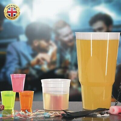 132 x Plastic neon shot glasses, pint glasses and bomb shots Stag Night Special